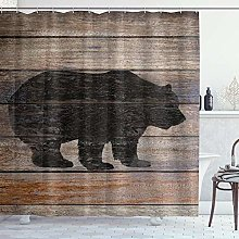 DYCBNESS Shower Curtain,Rustic Bear Silhouette On
