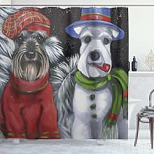 DYCBNESS Shower Curtain,Schnauzer Art Dog couple