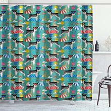 DYCBNESS Shower Curtain,Schnauzer Beach