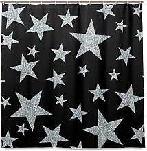 DYCBNESS Shower Curtain,Seamless Pattern Silver