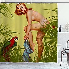 DYCBNESS Shower Curtain,Sexy Girl Retro Pin Up