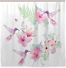 DYCBNESS Shower Curtain,Tropical Flowers With