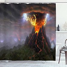 DYCBNESS Shower Curtain,Volcano Volcanic