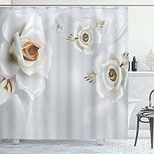 DYCBNESS Shower Curtain,White Rose Floral Modern