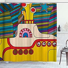 DYCBNESS Shower Curtain,Yellow Submarine Cartoon