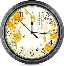 DYCBNESS Silent Non Ticking Wall Clock,Golden