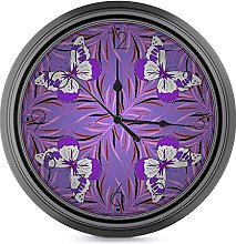 DYCBNESS Silent Non Ticking Wall Clock,Violet