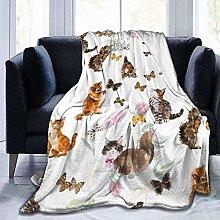 DYJNZK Sofa Bed Blankets Throw Cute Cat Kitten