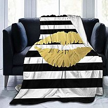 DYJNZK Sofa Bed Blankets Throw Gold Lips