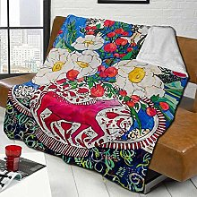DYJNZK Sofa Bed Blankets Throw Horse Urn With Tiny