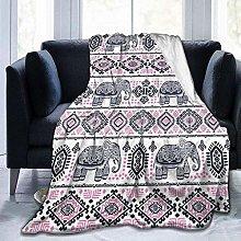 DYJNZK Sofa Bed Blankets Throw Pink Retro Elephant