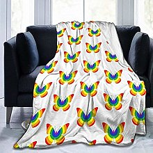 DYJNZK Sofa Bed Blankets Throw Rainbow Butterfly