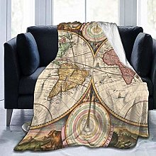 DYJNZK Sofa Bed Blankets Throw Retro World Map