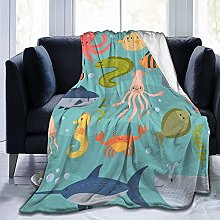 DYJNZK Sofa Bed Blankets Throw Sea Life Wool