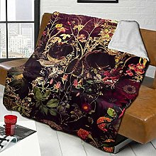 DYJNZK Sofa Bed Blankets Throw Skull With Floral