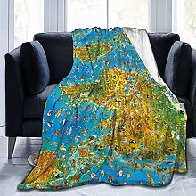 DYJNZK Sofa Bed Blankets Throw World Map Wool