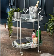 Dylex Silver Drinks Trolley With 2 Mirrored