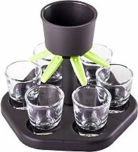 Dynamicoz 6 Shot Glass Dispenser Holder with Cups,