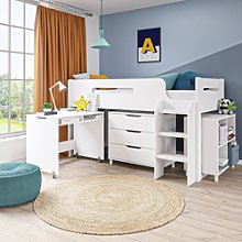 Dynamo Mid Sleeper Cabin Bed with Desk - White