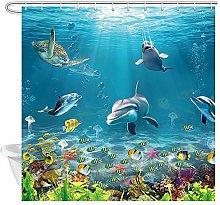 DYNH Underwater World Ocean Animals Shower