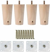 DyniLao 4 Inch Round Solid Wood Furniture Legs