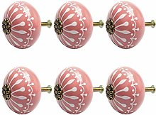 DyniLao 6Pcs Vintage Ceramic Knobs Knob Drawer