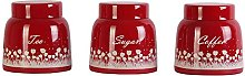 Dynore Red Pyramid Tea, Coffee & Sugar Canister