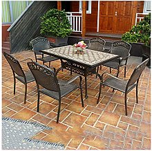 DYYD Outside Table and Chairs Garden 7 Piece Cast
