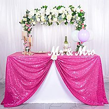 DZCGTP Sequin Tablecloth 60x102-Inch Hot Pink