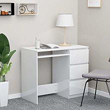 E-Greetshopping Desk High Gloss White 90x45x76 cm