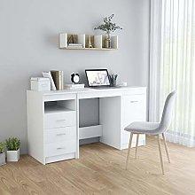 E-Greetshopping Desk White 140x50x76 cm Chipboard