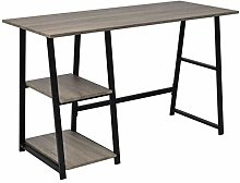 E-Greetshopping Desk with 2 Shelves Grey and Oak