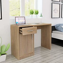 E-Greetshopping Desk with Drawer and Cabinet Oak