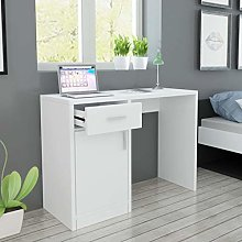 E-Greetshopping Desk with Drawer and Cabinet White
