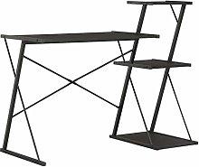 E-Greetshopping Desk with Shelf Black 116x50x93 cm