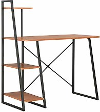 E-Greetshopping Desk with Shelving Unit Black and