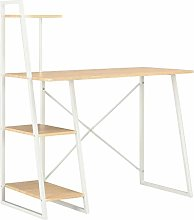 E-Greetshopping Desk with Shelving Unit White and
