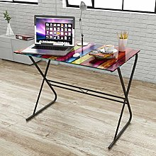 E-Greetshopping Glass Desk with Rainbow Pattern