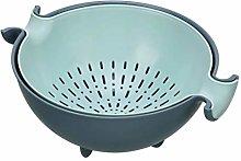 E-HONER Kitchen Double Drain Basket Bowl Rice