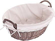 e-wicker24 Wicker Laundry Basket Dark Brown 60 x