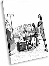 E215 Jazz Music Band Black White Portrait Canvas