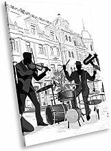 E216 Jazz Music Band Black White Portrait Canvas