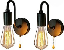 E27 Black Vintage Wall Lamp Light with Pull Cord