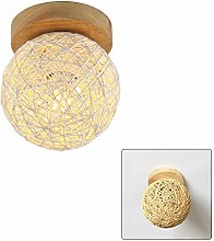 E27 Lamps Wooden Rattan Weaving Sconces LED
