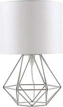 E27 Modern Bedside Table Lamp, Metal Fabric LED