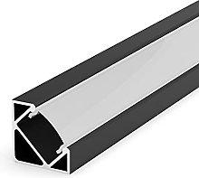 E3 Black Painted 1m Corner LED Aluminium Extrusion
