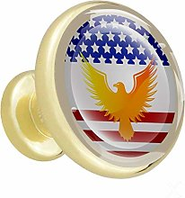 Eagle America 4 Piece Crystal Gold Knobs Round