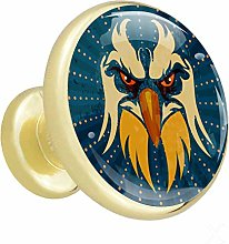 Eagle Blue 4 Piece Crystal Gold Knobs Round Metal