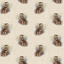 Eagle Owl Cotton Rich Linen Look Fabric Upholstery