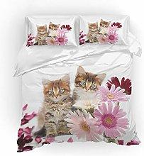Earendel Cat and flower Duvet Cover Set Lovely